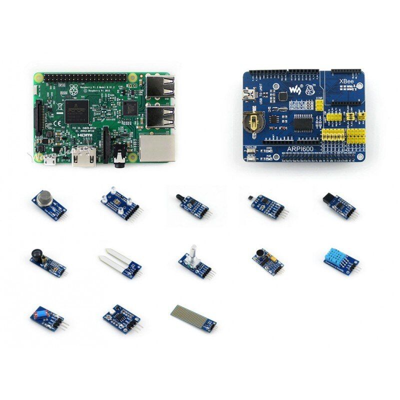 Waveshare RPi3 B Package D including Raspberry Pi 3 Model B Expansion Board ARPI600 Sensors Pack Micro SD Card 16GB and Reader