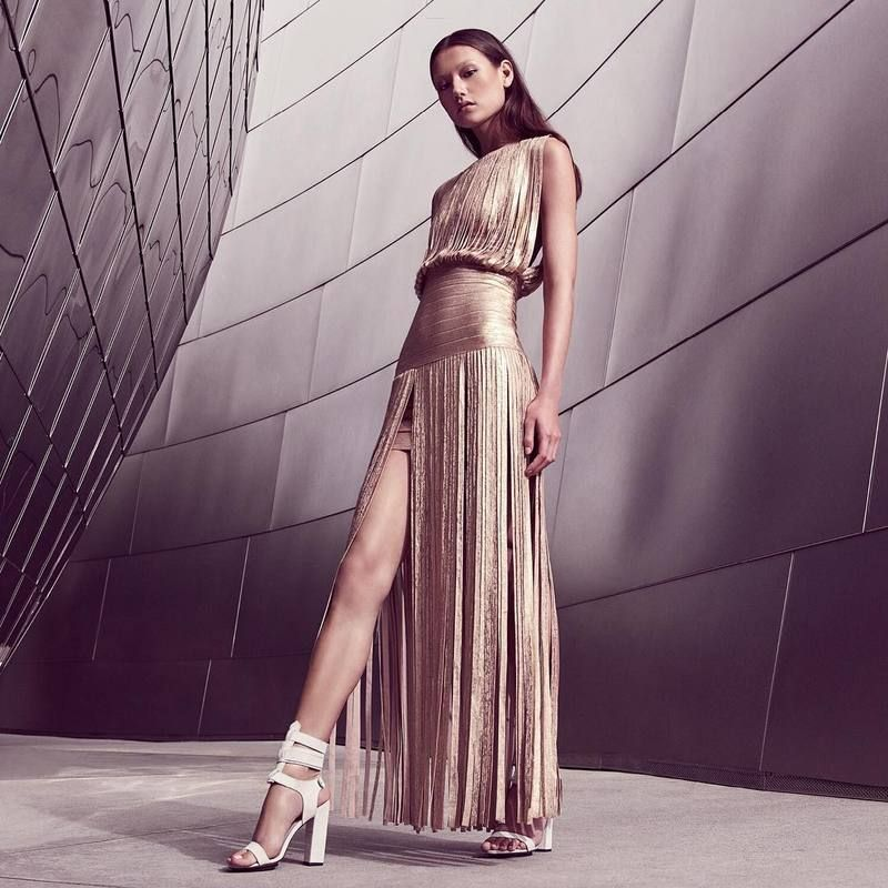 Brand New Arrival 2016 Women Elegant Rose Gold HL Long Bandage Dress Rayon for Wedding Gowns Wholesale