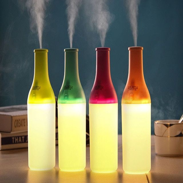 4 Colors 180ml Creative Bottle Design USB Essential Oil Ultrasonic Humidifier Home Office Mini Aroma Diffuser LED Night Light