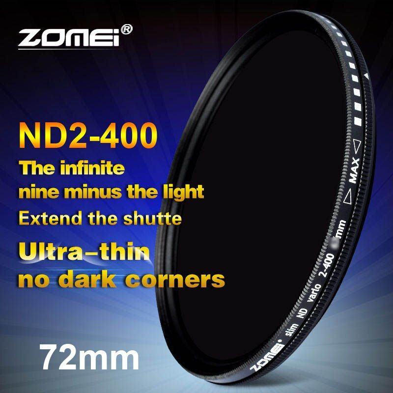 Zomei 72mm Fader Variable ND Filter Adjustable ND2 to ND400 ND2-400 Neutral Density for Canon NIkon Hoya Sony Camera Lens 72 mm