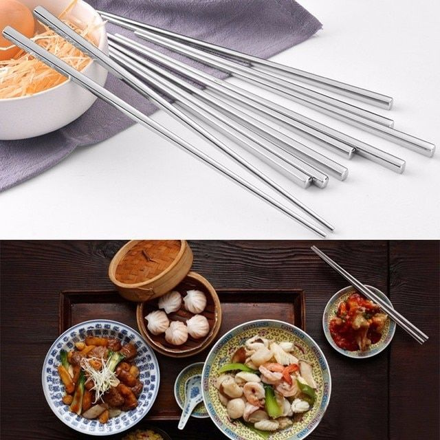 1pair Chopsticks Chinese Stylish Stainless Steel Sliver Portable Rice Sushi Korean Metal Chopsticks Household Kitchen Tableware