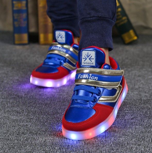 Size26-37 USB Charging kids basket glowing luminous children shoes with led light up casual shoes for boy&girls sneakers enfant