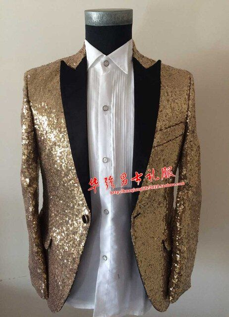 New Gold Sequins Slim Casual Men's Jacket Singer Blazer Male Formal Dress Party Show Stage Performance Prom Costumes Outerwear