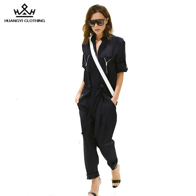 Celebrity Victoria Beckham New 2016 Autumn Women's Jumpsuits Turn-Down Collar Regular Style Full Length Black Pants