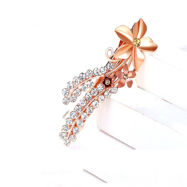Korean Head Jewelry Rhinestone Beauty Oil Drop Flower Hair Pin Bangs Ponytails Hair Clip