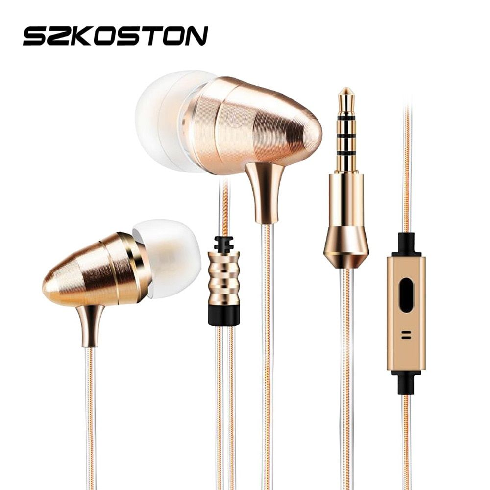 Metal 3.5mm In-ear Earphone Heavy Bass Sound Earphones Sports Headset With Mic For Xiaomi Samsung iPhone MP3 Huawei Mobile Phone