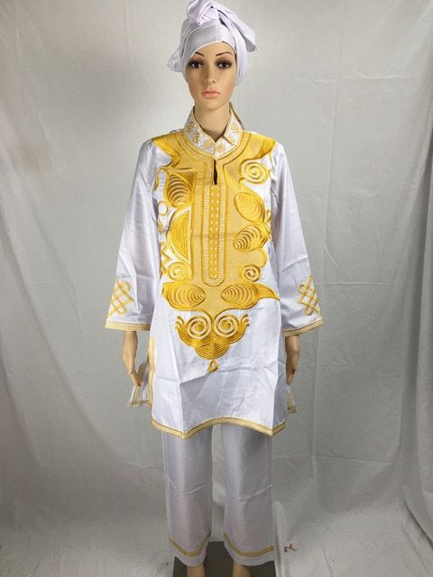 100% COTTON SOFT MATERIAL AFRICAN BAZIN RICHE AFRICAN  DRESS TOP WITH PANTS AND SCARF THREE PCS ONE SET