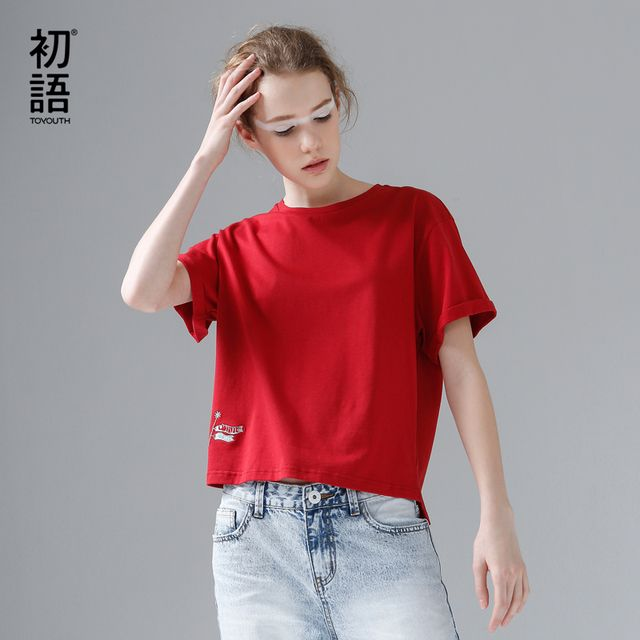 Toyouth T-Shirts 2017 Summer Women T Shirt Cotton Casual Embroidery Solid Color Short Sleeve O-Neck Tees Tops