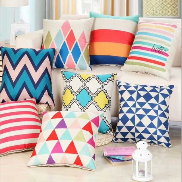 Colorful Geometric Linen Cotton Pillow  Chevron Home Decor Cushion Sofa Car Decorative Throw Pillow Capa Almofada 45x45cm Stripe