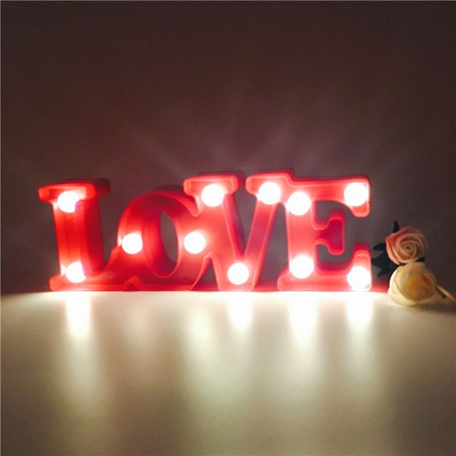 Weeding Celebration Indoor Night Light Love Letter Romatic Propose Props Holiday Lights Battery Control Gift Home Decoration