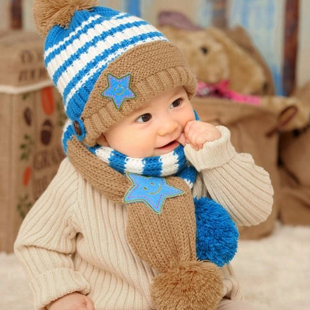 Lovely New Winter Kids Hat Smile Star Print Children Skullies Beanies Scarf Hat Set for Baby Boys Girls Baby Knitted Hats Caps