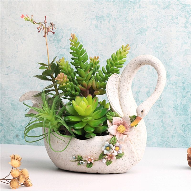 cute Swan animal flower pot white resin planters pots decorative succulents pots Big size flowers holder