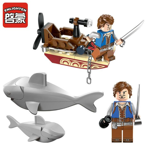 Enlighten 1302 Pirates Series Sharks Contingent Building Block Set Kids Bricks Educational Toys for Children