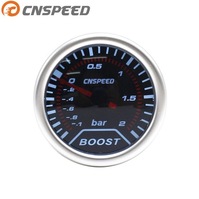 "Free shipping CNSPEED Boost gauge 2""(52mm) Smoke lens Turbo gauge Boost gauge (-1~2 Bar) /auto car gauge/car meter YC101225"