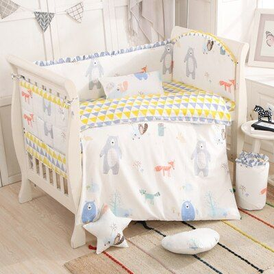 Promotion! Cartoon bear 6-9pcs Cot Linen Baby Bedding Sets Baby Girl Bedding Set whole set