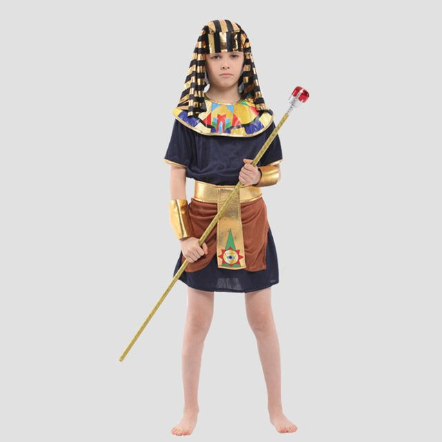 New Design Children Ancient Egyptian Pharaoh Costumes Halloween Cosplay Boys Prince Performance Clothing