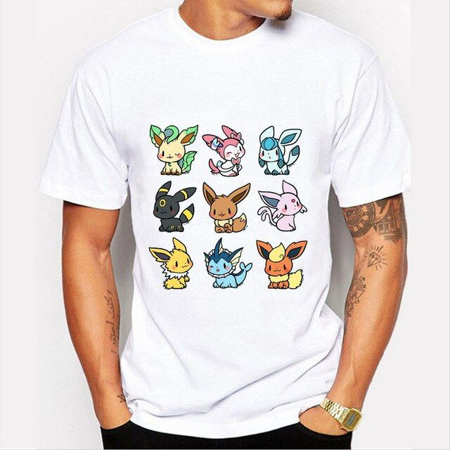 2016 Fashion Pokemon Shirt Cute Fire Fox Print T Shirts Man Short Sleeve Tshirt Camisetas Summer O-neck Hipster Tops