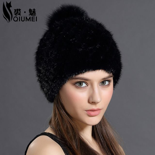 QiuMei Mink Fur Beanies Cap With Fox Fur Pompoms For Women New Brand Thicken Female Cap Winter Knitted Real Mink Fur Hat