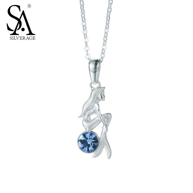 SA SILVERAGE 925 Sterling Silver Mermaid Charms Necklaces Blue CZ Sterling Silver Necklaces & Pendant Fine Jewelry for Women