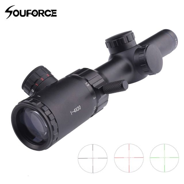 1-4x20 Hunting Rifle Scope Green Red Black Illuminated Crosshair Riflescope Reticle Caza Rifle scope Air Rifle Optical Sight