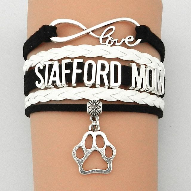 Drop Shipping Infinity Love Stafford Mom Bracelet Dog or Cat Paw Charm- Custom Black with White Leather Wrap Friendship Gift