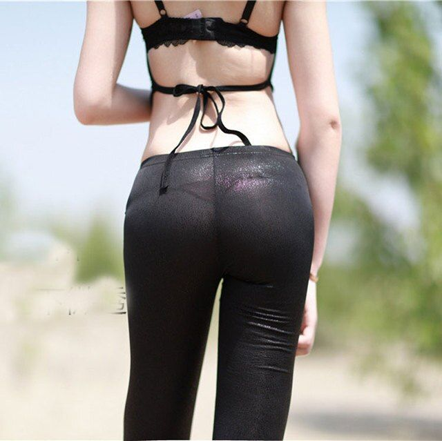 New Sexy Women PU Crocodile Veins See Through Pencil Pants Transparent Leggings Hip Light Erotic Lingerie Dance Wear FX1039