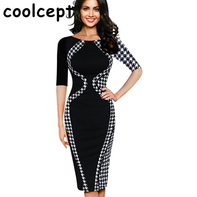 Office Ladies Bodycon Dress Women Round Collar Short Sleeve Mixed Color Print Silm Knee-Length Dresses Sexy Party Club Clothing