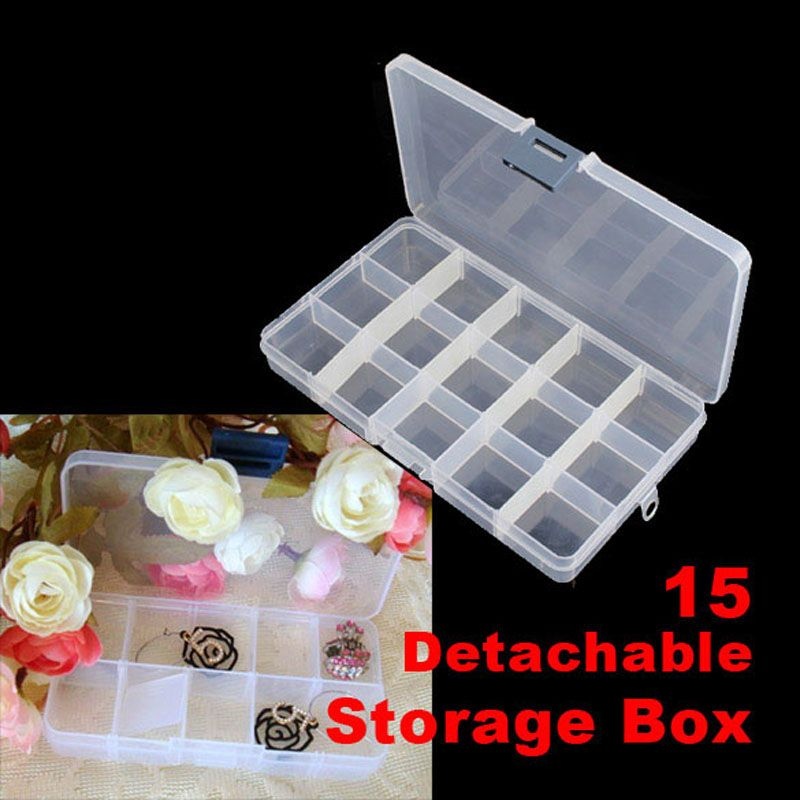 1PC Plastic 15 Slots Adjustable Jewelry Storage Box Craft Organizer Beads Multifunctional detachable 15 grid jewelry storage box