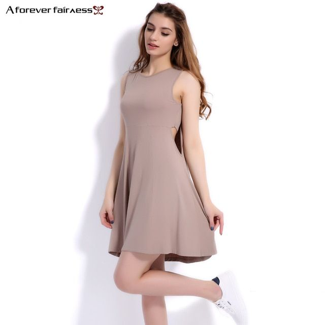 A Forever Summer 2018 Women Dress Camisole O-Neck Waist Sexy Hollow Sleeveless Solid Pleated Women Casual Dress vestido AFF1133