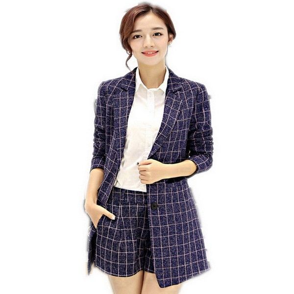 Women Spring And Autumn New Cotton And Linen Small Suits Jacket Plaid Clothing Set Ladies Fashion Tailored Collar Business Suit