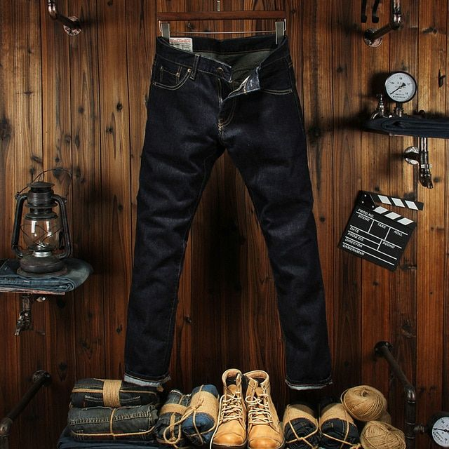 High Quality Straight Fit Men Jeans Dark Color Raw Denim Original Color Wash Red Line Fashion Classic Jeans Men Business Pants