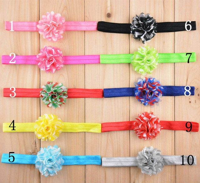 50 PCS/LOT Chiffon Chevron lace mesh net flower headbands U Pick Colors