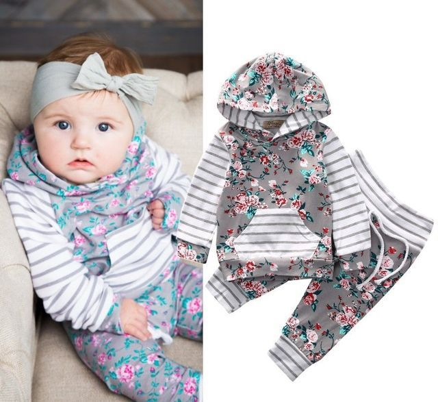 Toddler Infant Baby Girls Clothes Set Floral Cute Hooded Tops Long Sleeve Pants 2Pcs Outfits Set Baby Girl Clothing