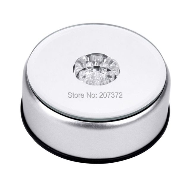 Free shipping,Dia 78mm  fashion cute pretty beautiful LED light base show crystal glass rotating rotate base stand display