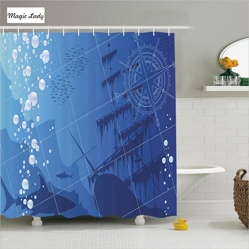 Curtain for Bathroom Blue Sea drawing Ship Bottom Compass Fish Shark Gift an Original Gift for a shower Curtain