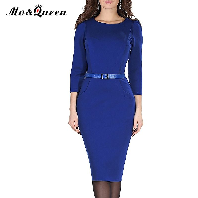 MOQUEEN New Office Dress Women Fashion Casual Work Dress 2017 Polyester O-Neck Knee Length Pencil Ladies Dresses With Belt S-3XL