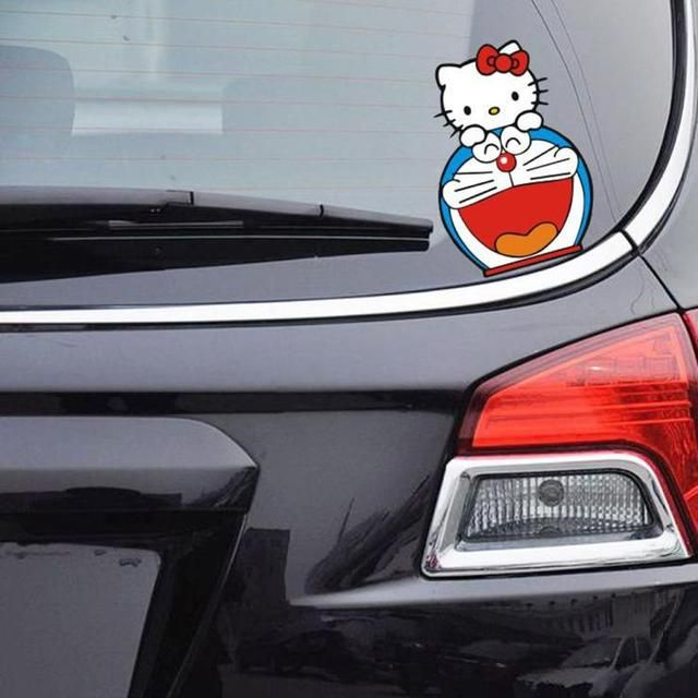 Aliauto Car-Styling Hello Kitty And DORAEMON Funn Car Sticker Cute Decal For Citroen c4 VW Golf 5 6 7 Kia Peugeot 308 Audi a3