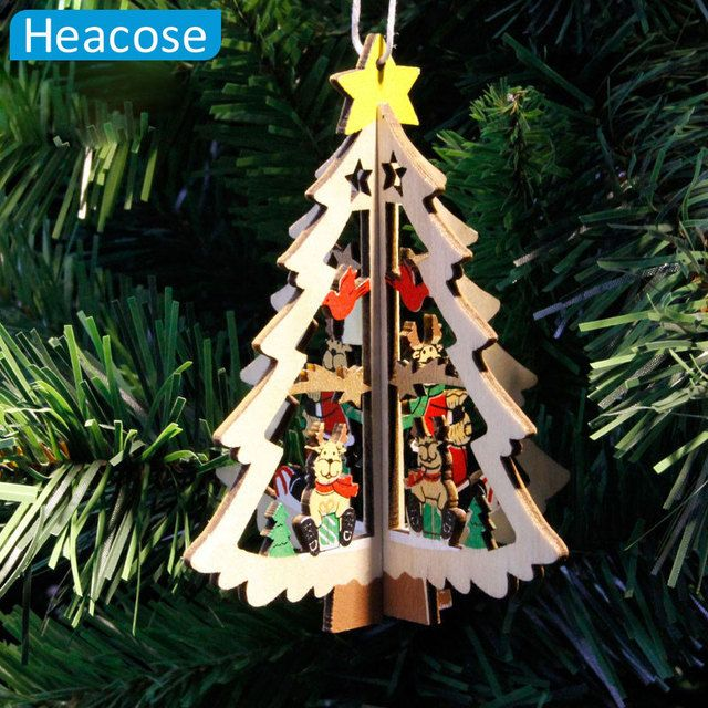 3pcs 3D Christmas Tree Ornament Decor Ball Bauble Hanging Xmas Home Party Ornament Decoration Christmas Tree Bells Stars gifts