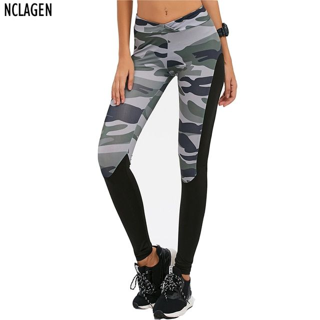 NCLAGEN 2017 New Women Fashion Casual Camouflage Pant Femme Sexy Slim Fit Trousers Patchwork Elastic Leggings For Woman Size S-L
