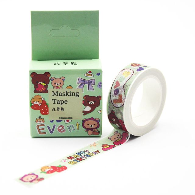 1 PCS 15mmx10m New Chowhound Bear Washi Tape DIY Decoration Scrapbooking Planner Masking Tape Adhesive Tape Kawaii Stationery