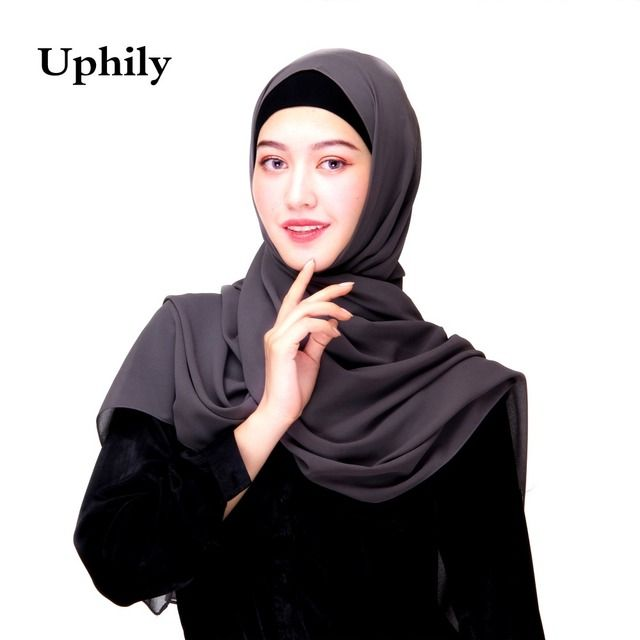 2017 Uphily wholesale muslim head scarf 40 colors women's bubble chiffon scarf shawls muslim hijab caps head coverings hijabs