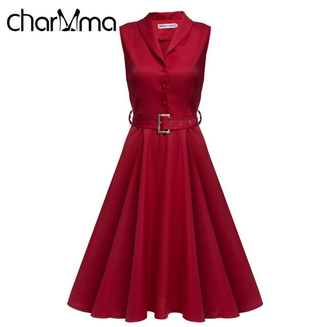 CharMma Vintage Ladies Office Dress A Line Sleeveless High Waist Midi Pleated Women Belt vestido OL negro corto Red Robe retro