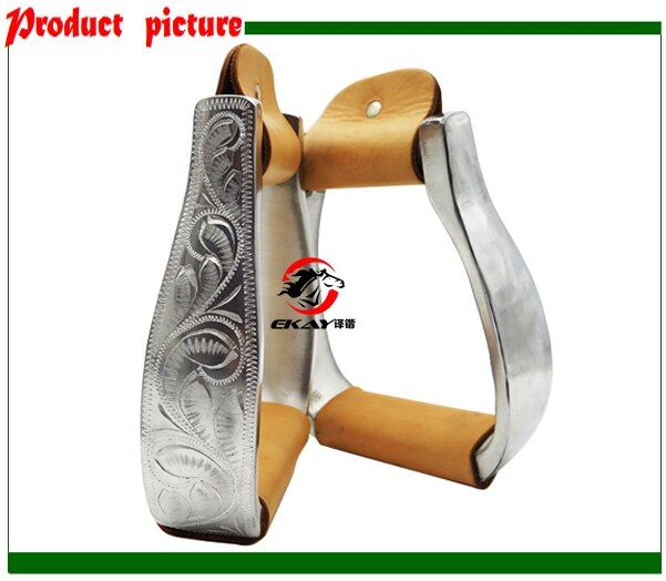 "Free shipping aluminum stirrup with hand engraved,size:4 3/4"",Horse product,western stirrup with leather wrapped(ST3101FL)"