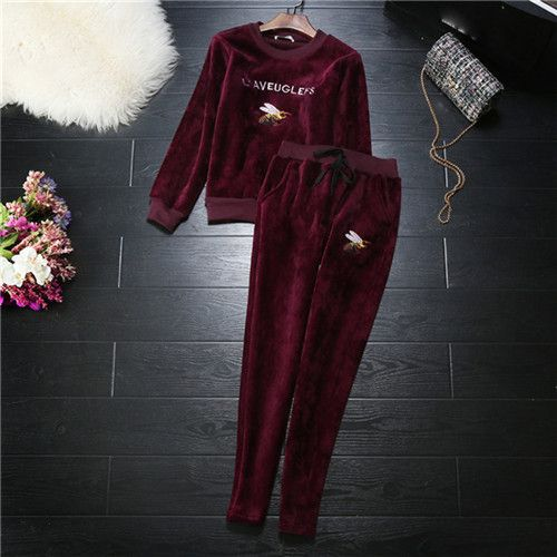 Brand Bee Women's Clothes Sets Casual Suits Velvet Hoodie pants Set Women's Winter Black Sweatshirts slim pants tracksuits Sets