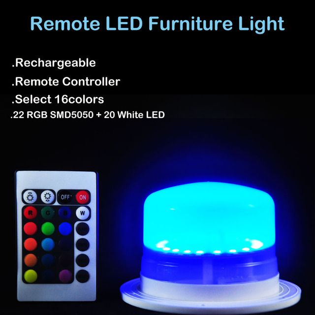 Rechargeable LED Furniture Light Under Water Lighting RGBW Multicolors Waterproof IP68 Swimming Pool Lights W/Remote