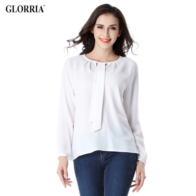 Glorria Women Chiffon Thin Office White Blouses Ties Long Sleeve Shirts Fashion Business Spring Summer Style Female Tops