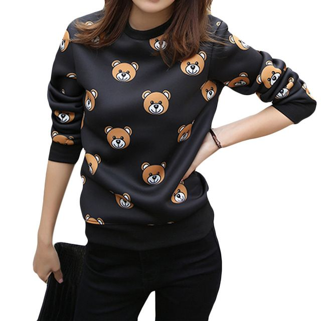 Spring Winter 2017 New Fashion Women Hoody Cute Cartoon Printed Sweatshirt Casual Simple Tops White/Black Color Hot Sale Hoodies