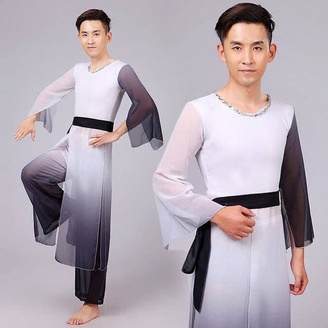 Men Chinese Dancing Costume Chinese Natioanal Dancer Wear Top+pants Male Fan Umbrella Dance Costume Stage Performance 18