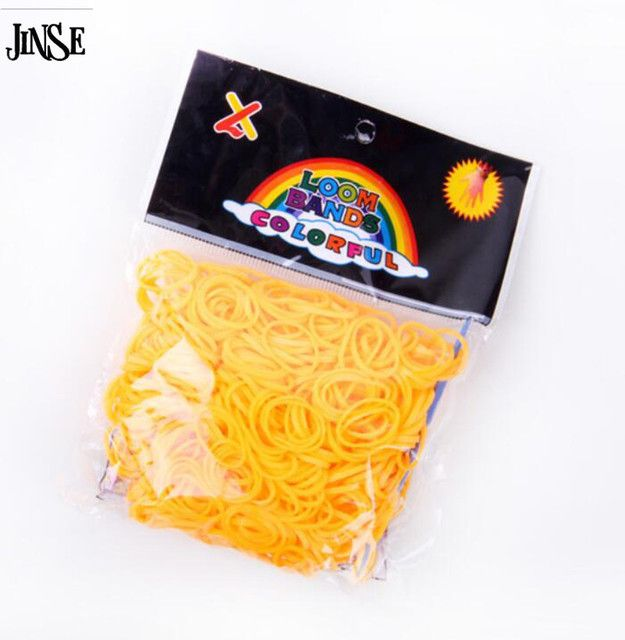 JINSE DIY Silicone Loom Bands Orange Rubber Loom Bands Refills Used To Make Bracelet 600 Loom Bands+24 S-Clips LBD015-C