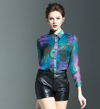 The new Europe and the United States high-grade 100% mulberry silk flower long sleeve blouse female heavy silk shirts